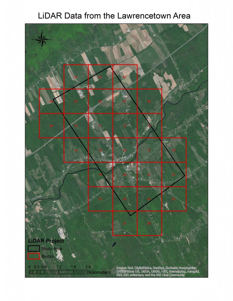LiDAR blocks for the case study of the Lawrencetown area